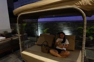 Jen enjoying the cabana