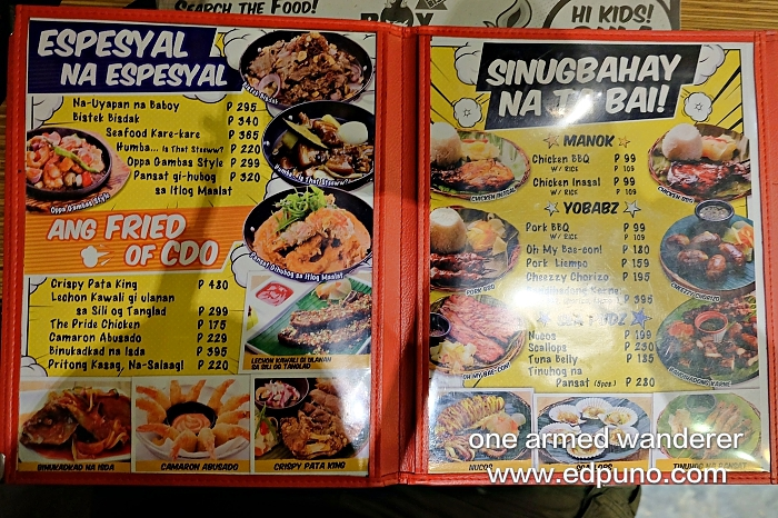 Boy Zugba CDO Menu 2