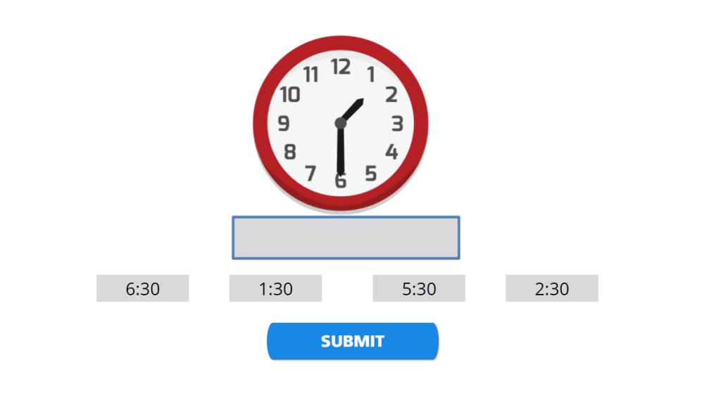 Identify half hour on clock
