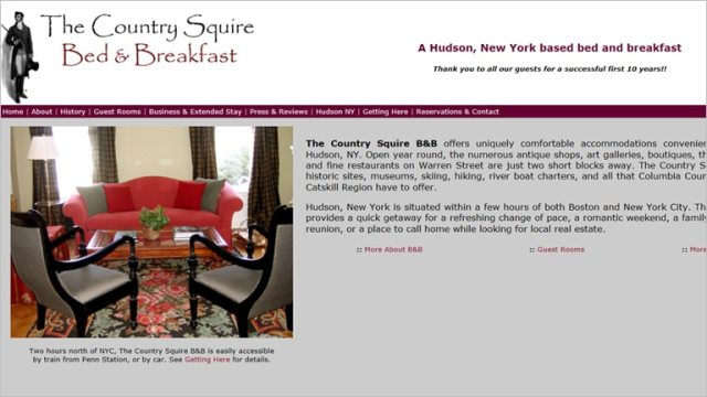 Website of The Country Squire Bed & Breakfast in Hudson, NY. Recently renamed Batterby House.