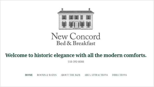 Website for New Concord Bed & Breakfast in East Chatham, New York
