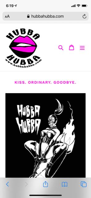 Hubba Hubba mobile home page (hubbahubba.com)
