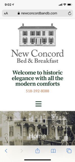 New Concord Bed & Breakfast (B&B) Mobile Home Page