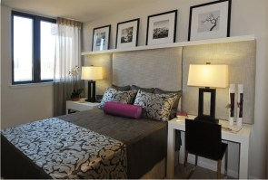 A model room with custom made bedding and curtains