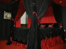 Black and Red Canopy with Tufted Buttons