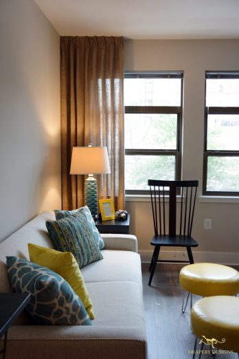brown color sheer panels lined with light sheer for a model room in Washinton DC