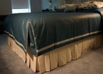 Blue Coverlet with Contrast Banding and Cording