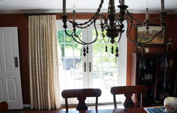 """heavy lined panels on 1"""" metal rod for a dining room"""