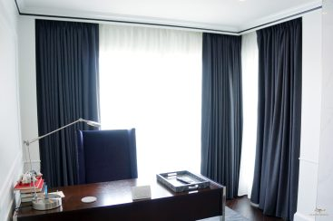 Black out lined panels were 250% fullness vs. Unlined sheers with 300% fullness. They were custom made standard fullness