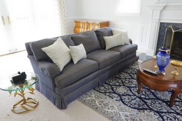 Custom upholstered couch and pillows 01