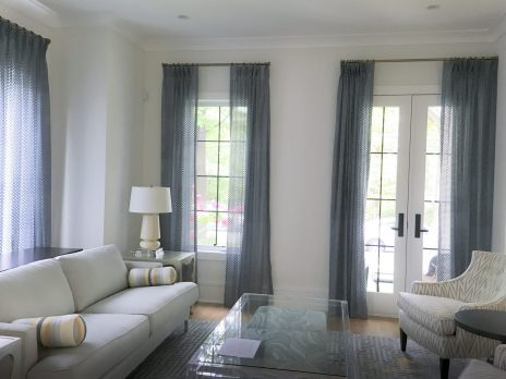 unlined pinch pleated sheer panels with 250% fullness