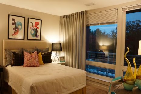 Custom made sheer panels for a small bedroom