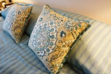 Turquoise pillows with accent Trim