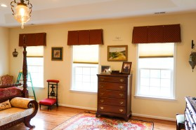 master Bedroom box valances with contrast inserts