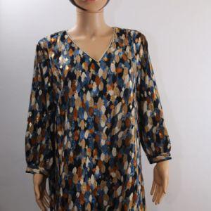robe à feuilles bleues et dorées e dressing des copines