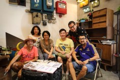 Artists and members of the Urban Sketchers Singapore group hanging out and sketching together after our lunch at AEIOU Cafe. (L-R: Tony Chua, Jenny Tsai, Dawn Lo, me, Dennis Lau (owner of AEIOU Cafe), and Marvin Chew).