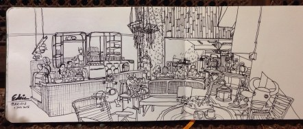 My initial sketch linework of AEIOU Cafe, drawn with a black ZIG Memory Writer Marker.