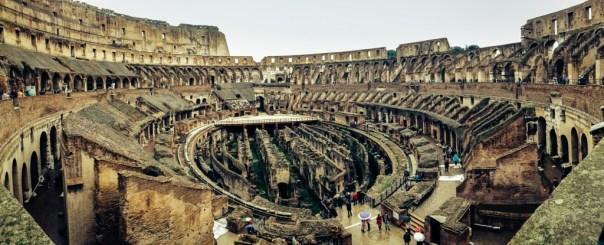 Interior panorame of the Roman Colosseum (Flavian Amphitheatre)