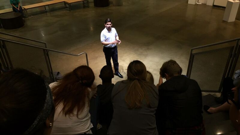 Matthew Klutcher shares his passion statement in the Katzen Rotunda!
