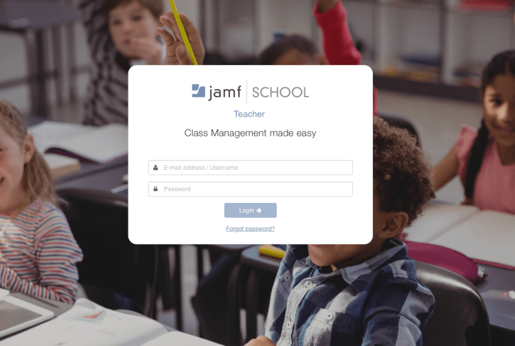 Jamf School teacher login screen