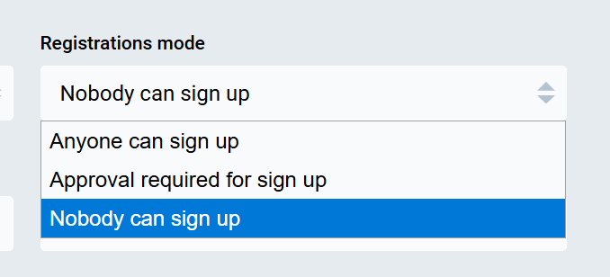 Screen shot showing nobody can sign up