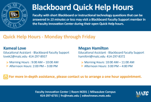 Blackboard Quick Help Hours - Fall 2013