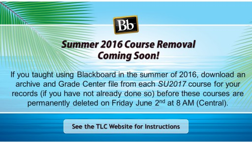 Summer 2016 Course Removal Coming Soon