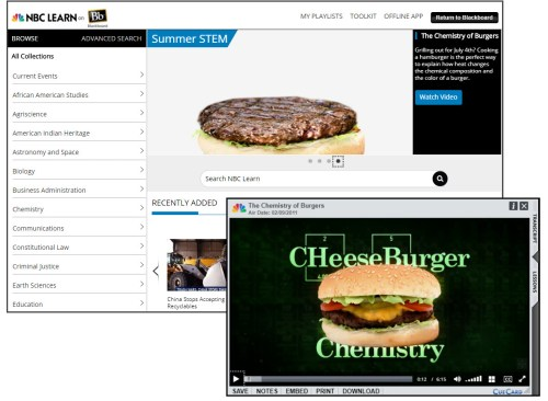 Screenshot of NBC Learn and Example Video