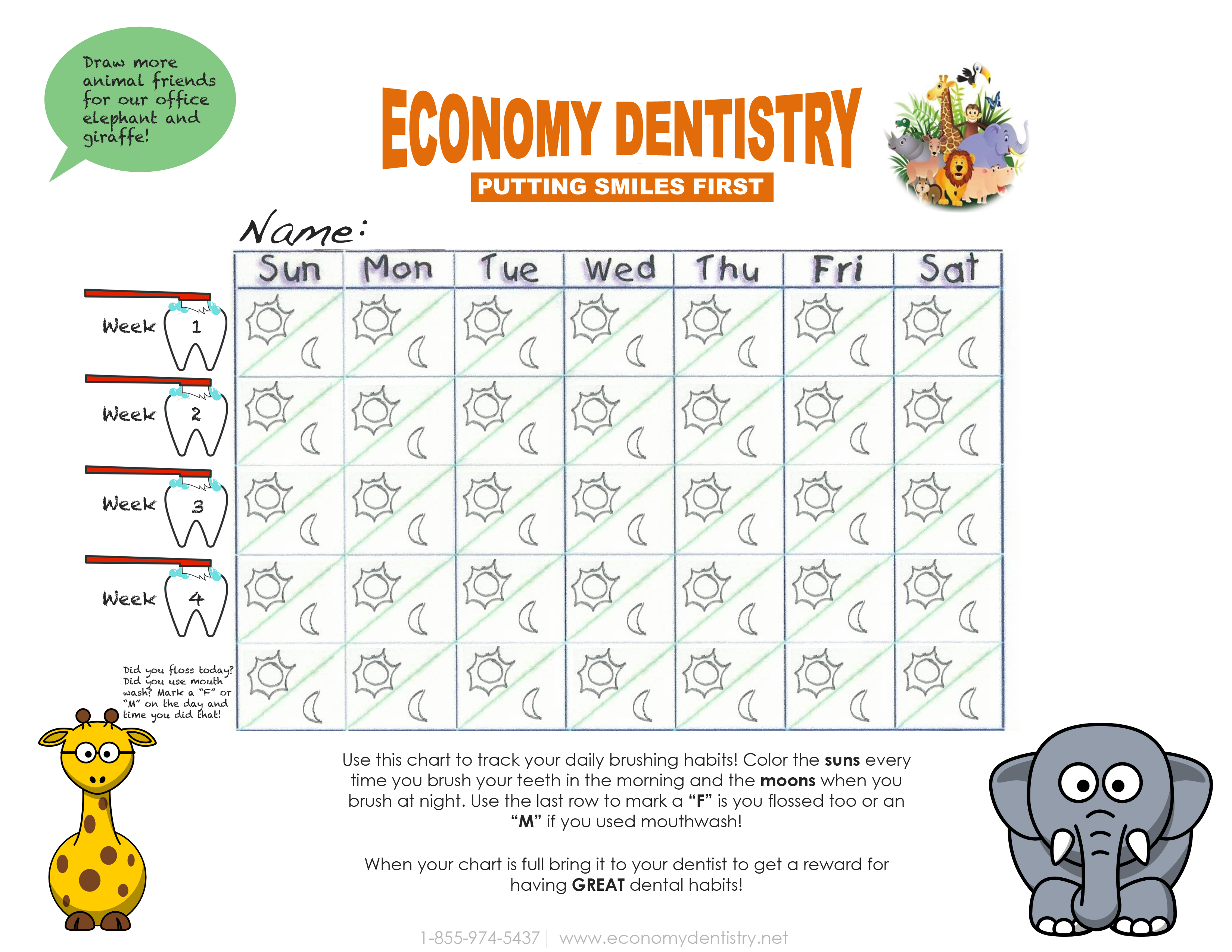 Brushing Chart For The Kids