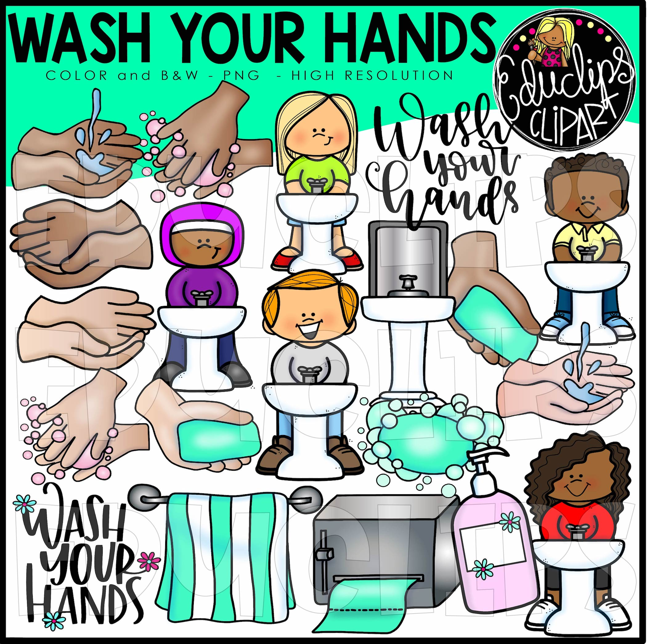 Wash Your Hands Clip Art Bundle Color And B Amp W