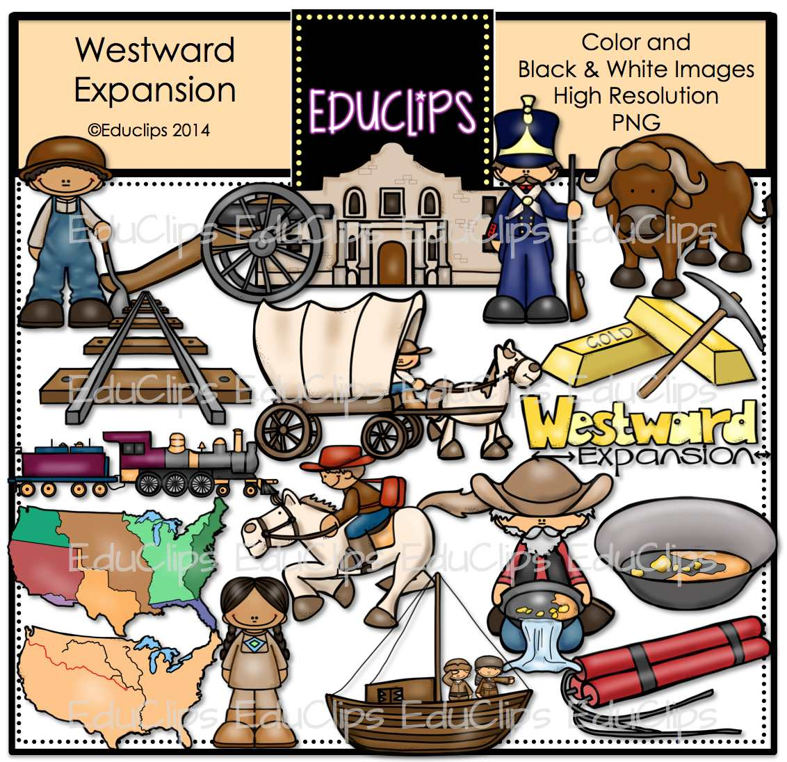 Westward Expansion Clip Art Bundle Color And B Amp W