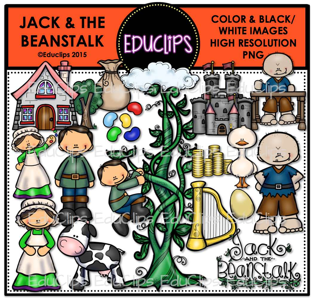 Jack And The Beanstalk Clip Art Bundle Color And B Amp W