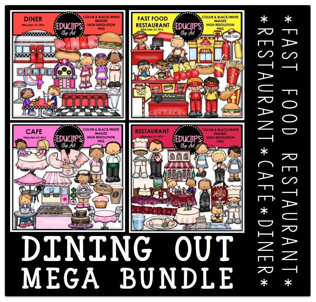 Dining Out Clip Art Mega Bundle Color And B Amp W