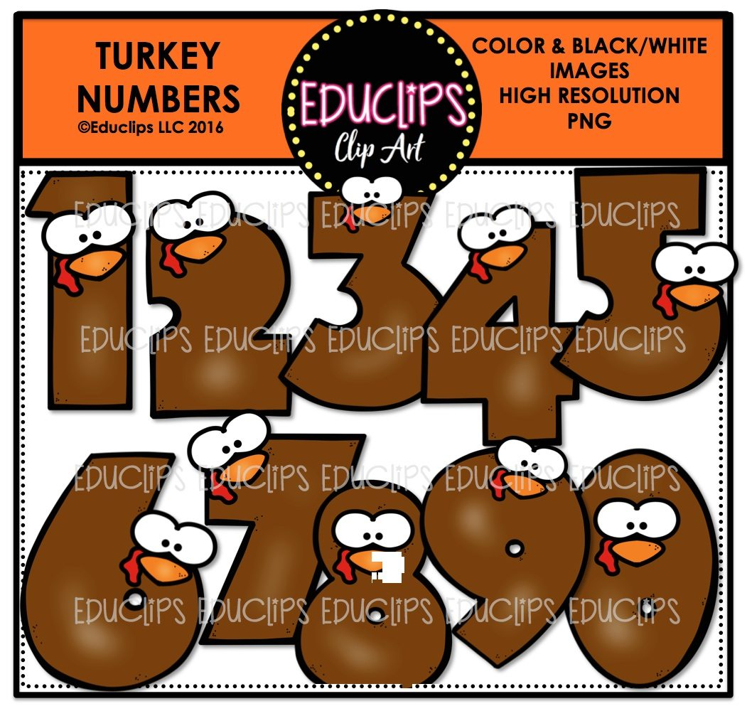 Turkey Numbers Clip Art Bundle Color And B Amp W