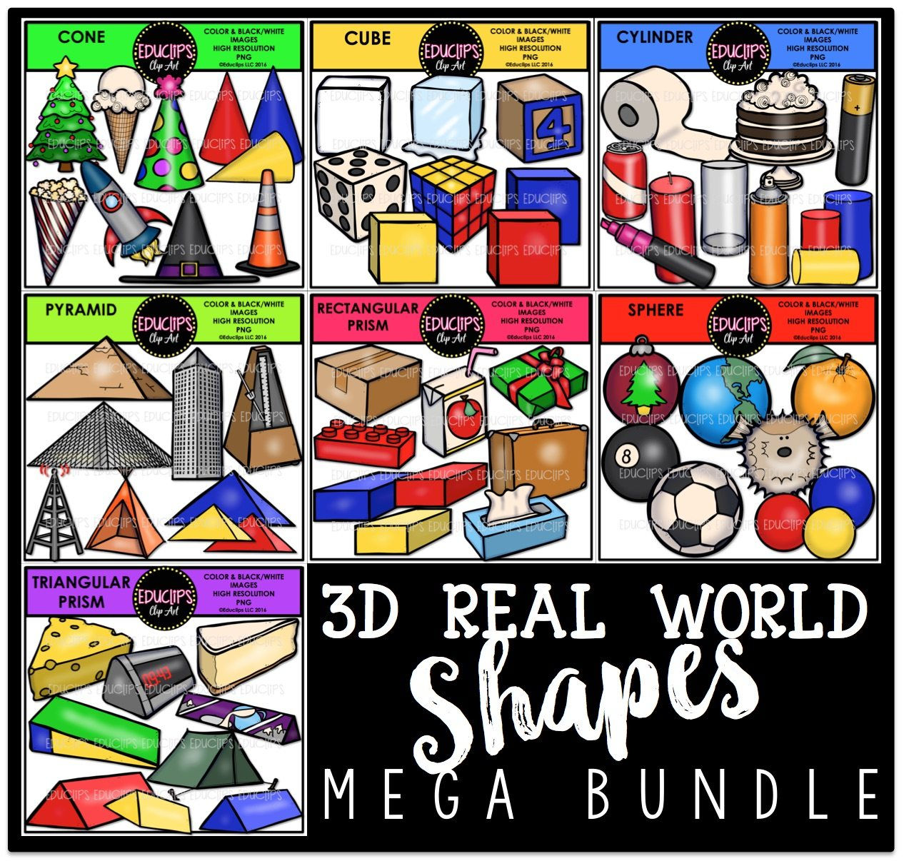 3d Real World Shapes Clip Art Bundle Color And B Amp W