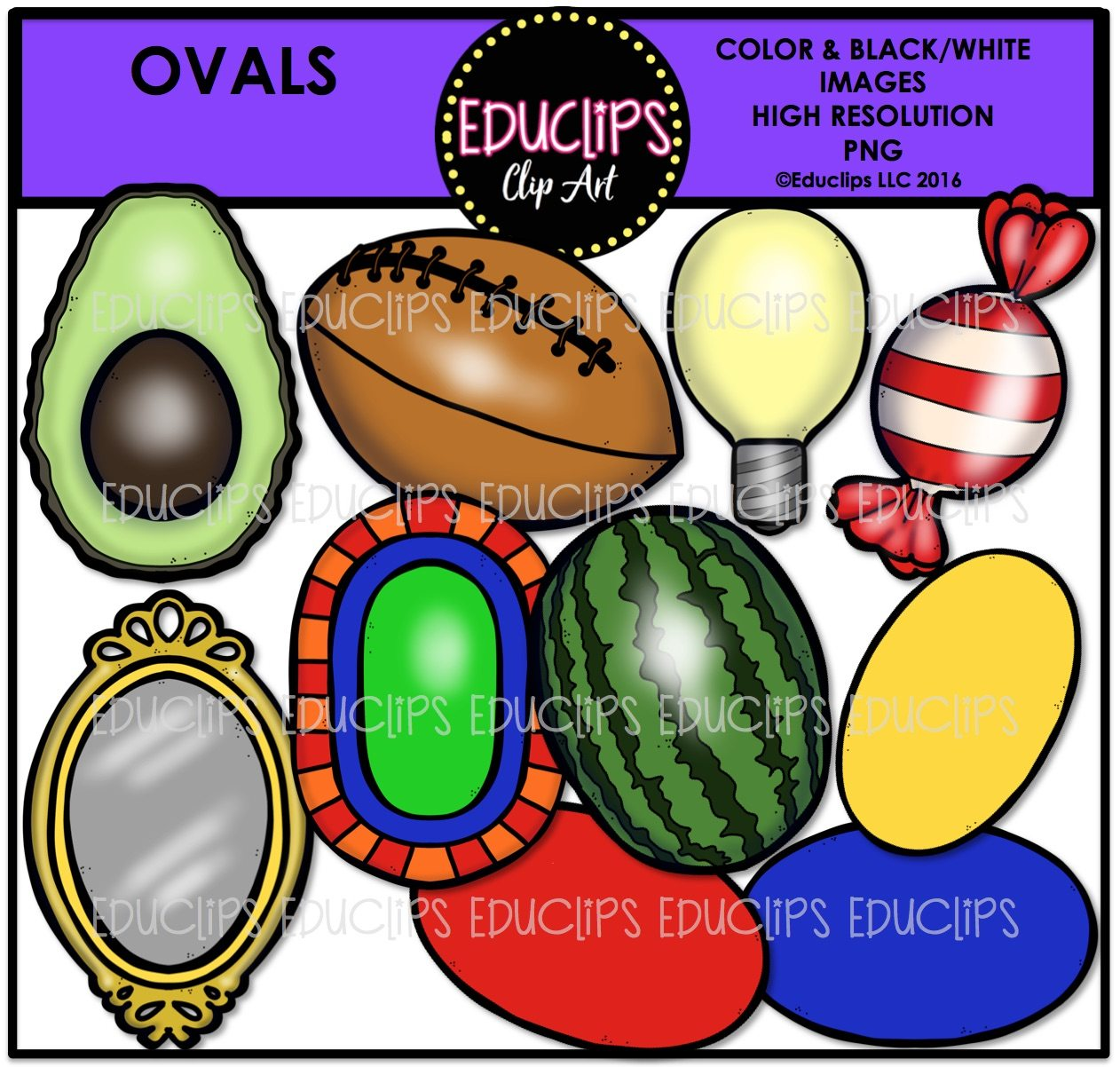 Oval Shapes Clip Art Bundle Color And B Amp W
