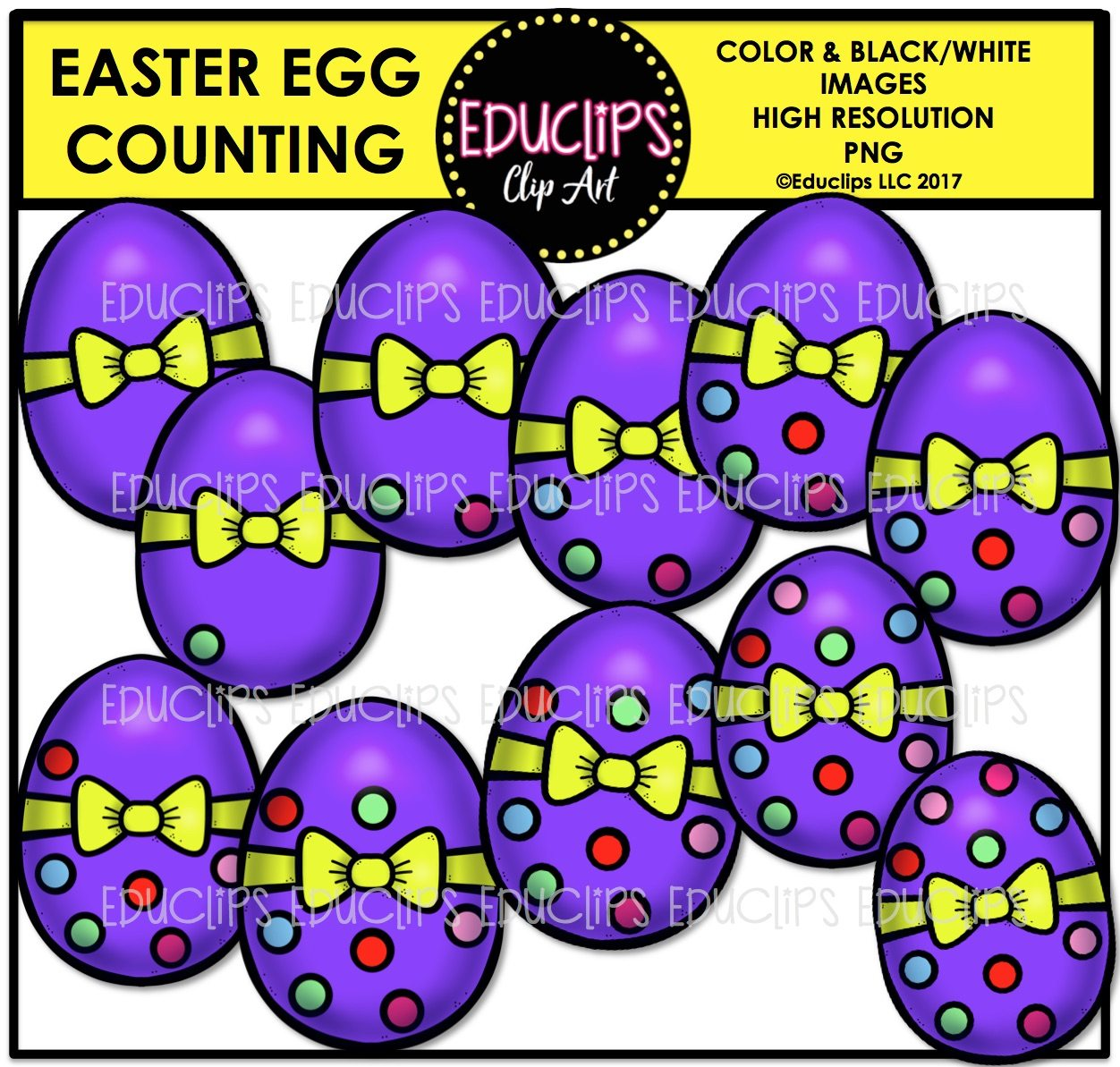 Easter Egg Counting Clip Art Bundle Color And B Amp W