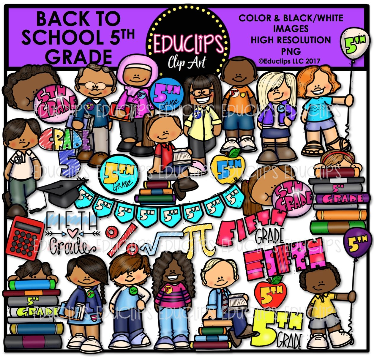 Back To School Fifth Grade Clip Art Bundle Color And B Amp W