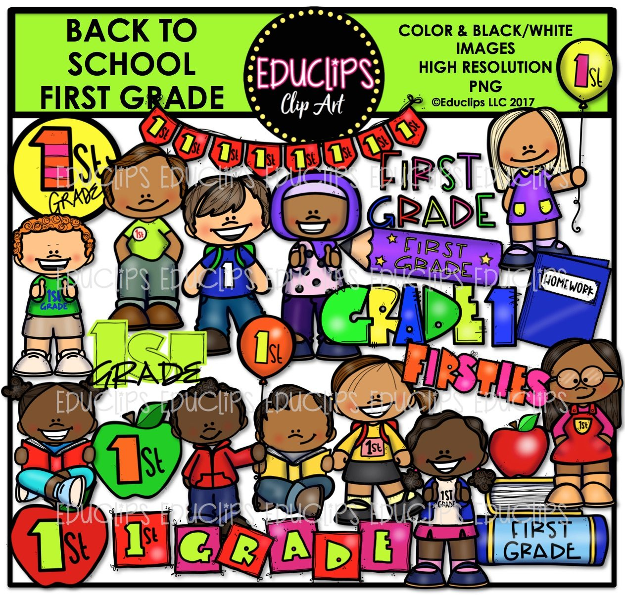 Back To School First Grade Clip Art Bundle Color And B Amp W