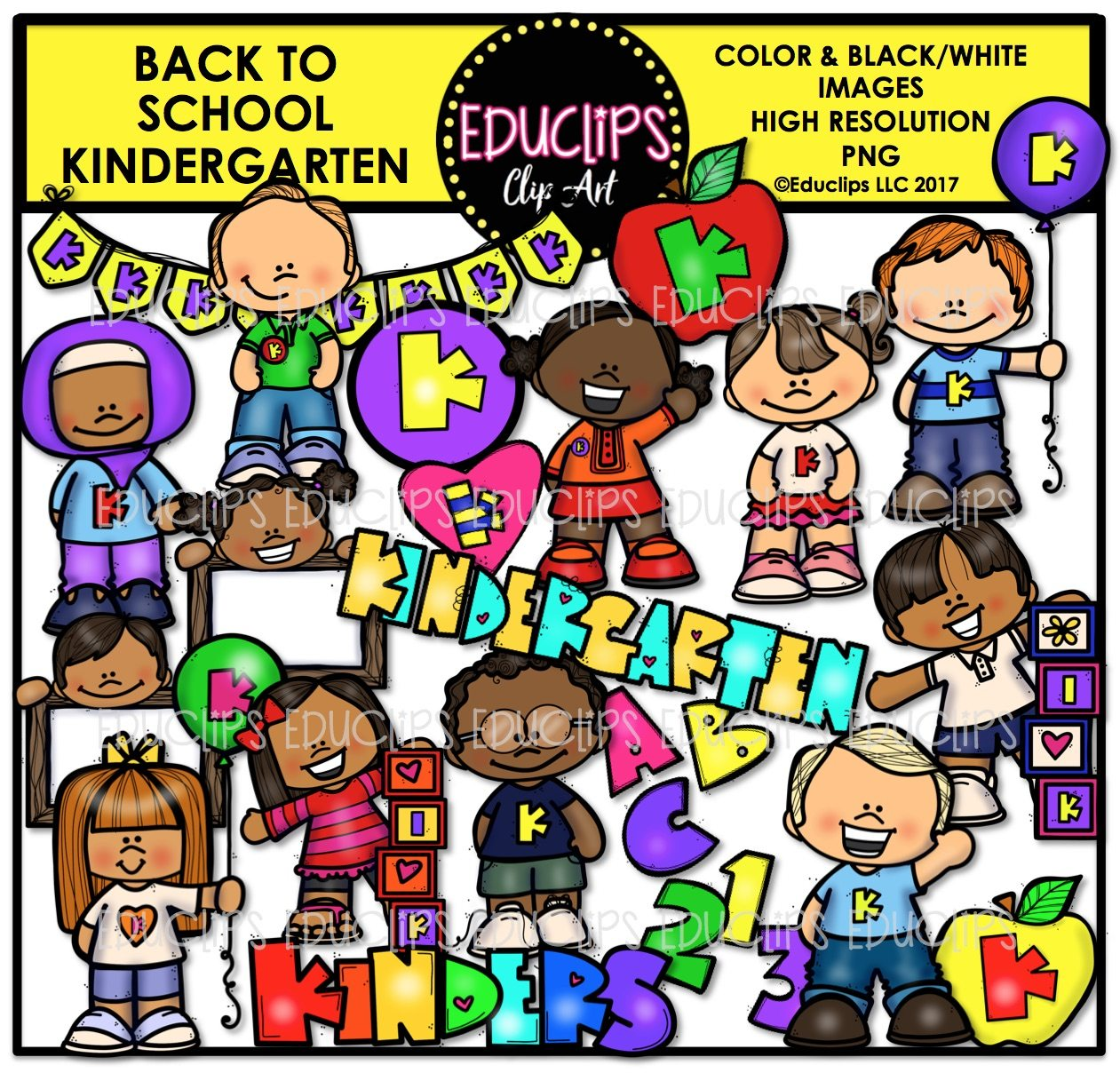 Back To School Kindergarten Clip Art Bundle Color And B Amp W