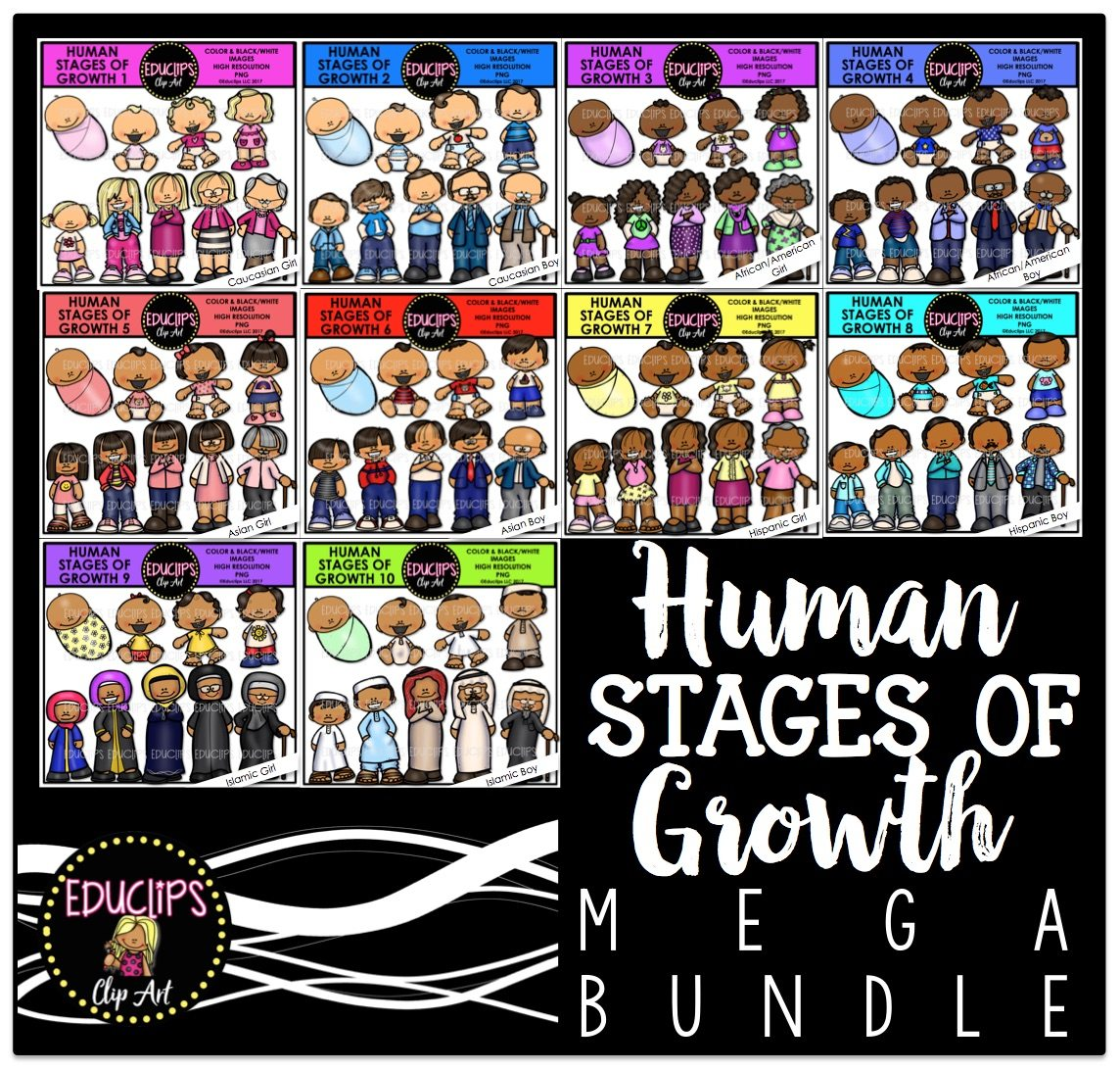 Human Stages Of Growth Mega Bundle Color And B Amp W