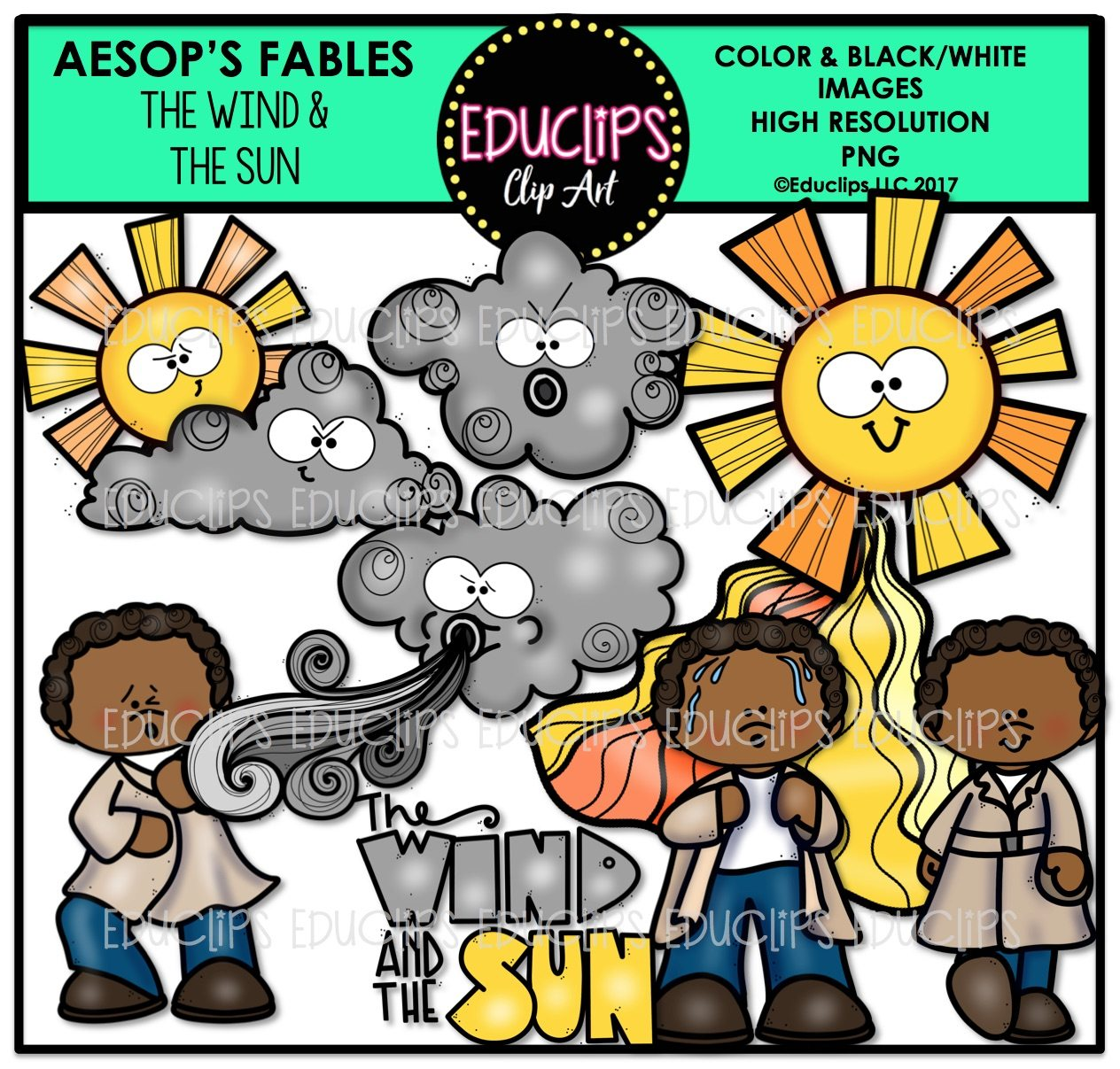 The Wind And The Sun Clip Art Bundle Color And B Amp W