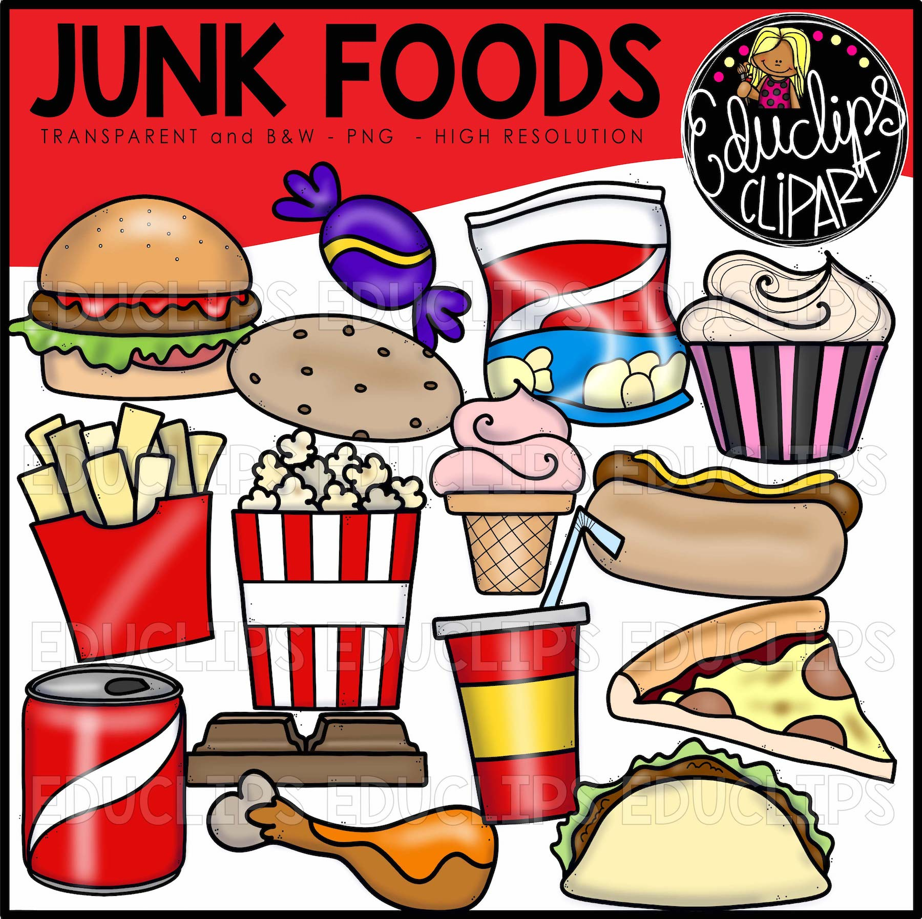Junk Foods Clip Art Bundle Color And B Amp W