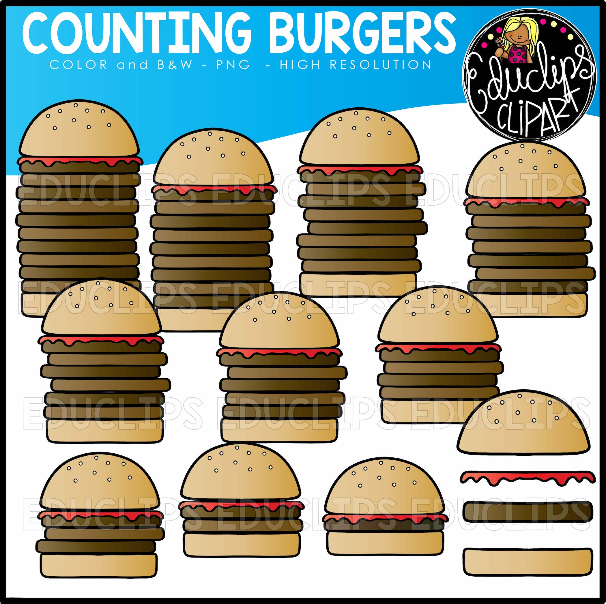 Counting Fast Foods Clipart Big Bundle
