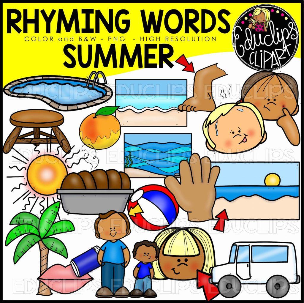 Summer Rhyming Words Clip Art Set