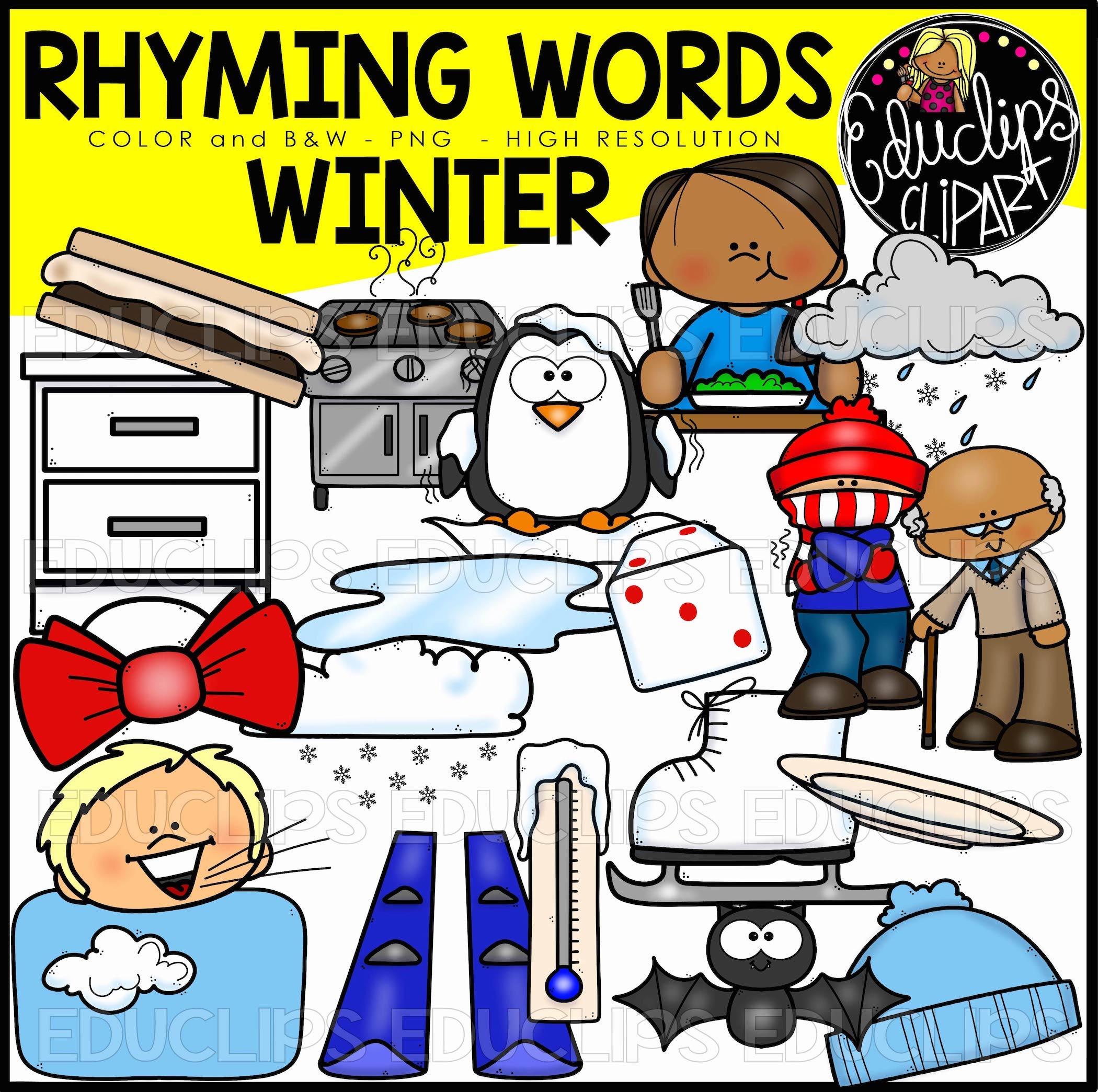 Winter Rhyming Words Clip Art Set