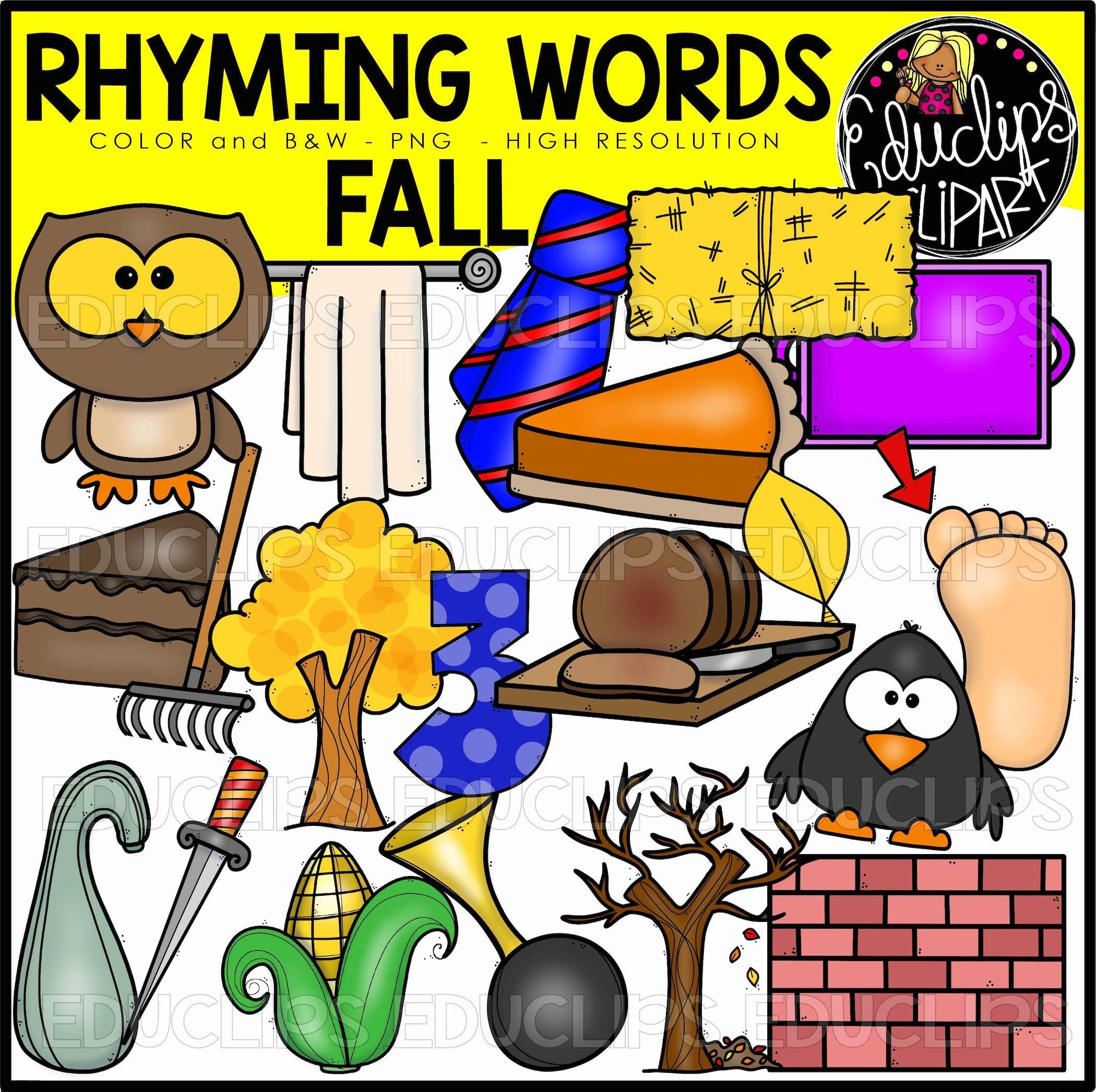 Fall Autumn Rhyming Words Clip Art Set