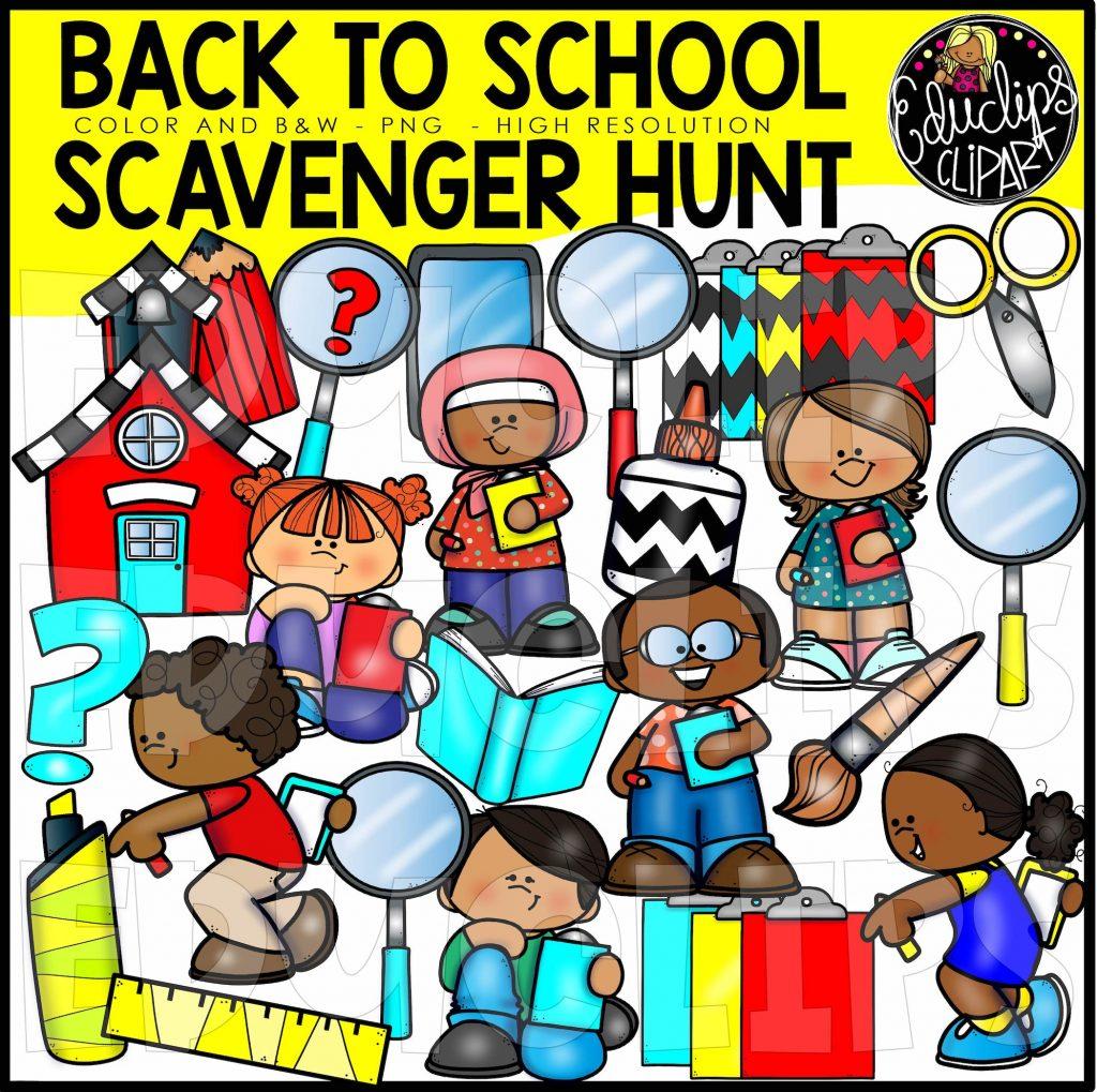 Back To School Scavenger Hunt Clip Art Set