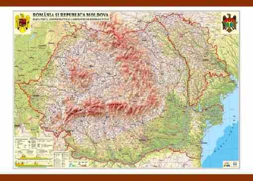 GHRCD harta fizica romania si moldova