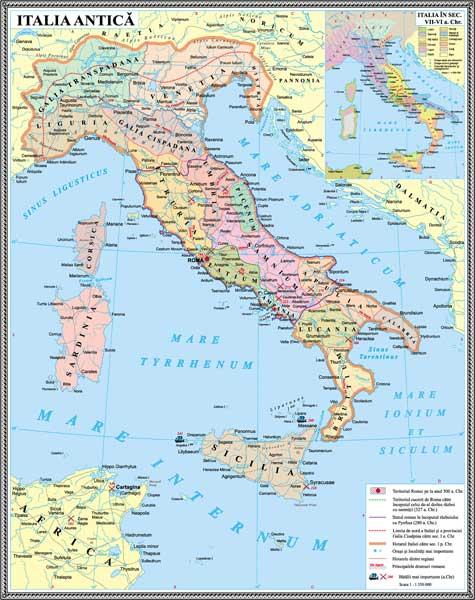 IHA7 Materiale didactice istorie harti murale HARTA ITALIA ANTICA